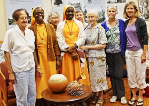 Ghana Committee members, from left, are Elise André, Veronica Adomako-Manu FST, Marie Ego, Emily Owusu-Ansah FST, Barbara Roche, Pauline Albin, Lillian Moskeland and Betsy Clute. (Photo by Peg Jacobs)