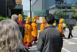 Monks lead the march procession. (Photo courtesy of Pat Geier)