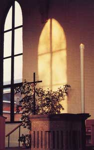 Sunlight shines through the window in the Motherhouse Church