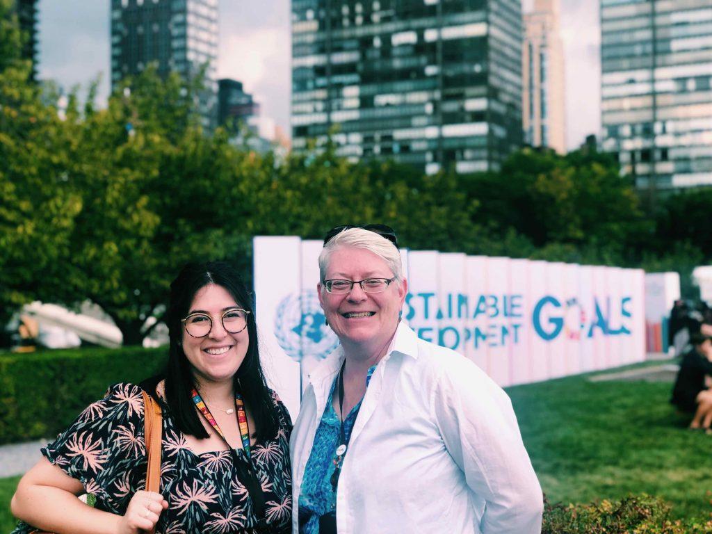 Amy Maltz, Loretto Volunteer standing with Beth Blissman CoL, Loretto's UN NGO representative.