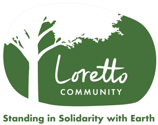 Outline of a tree framing the Loretto Community logo
