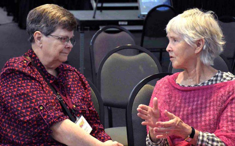 Sharon Kassing listens as Sonja Novo talks