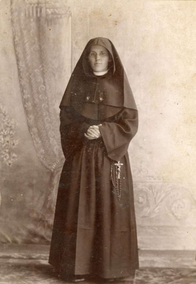 Original habit of the Sisters of Loretto - black or dark blue with two Sacred Hearts embroidered on the veil