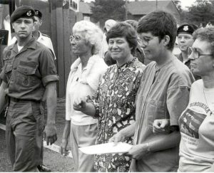 1990's photo of Domincan Sisters protesting outside Michigan Air Force base