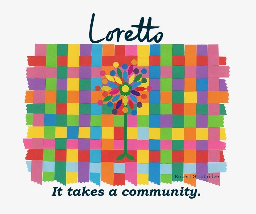 """Multi-colored woven cloth with a colorful tree in the middle. Text around the image reads """"Loretto. It takes a community."""""""