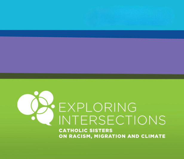 "Wide blue, purple and green stripes fill the photo, with ""Exploring Intersections"" logo in the lower third of the frame."