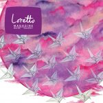 A flock of paper cranes floats in front of a multi-colored circle of pinks and purples