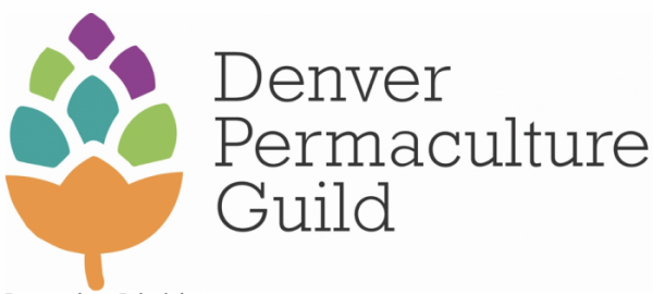 """Colorful plant-like graphic with the text """"Denver Permaculture Guild"""""""