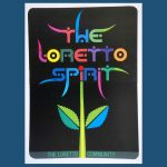 "Colorful banner with text ""The Loretto Spirit"" as a bloom on a stem."