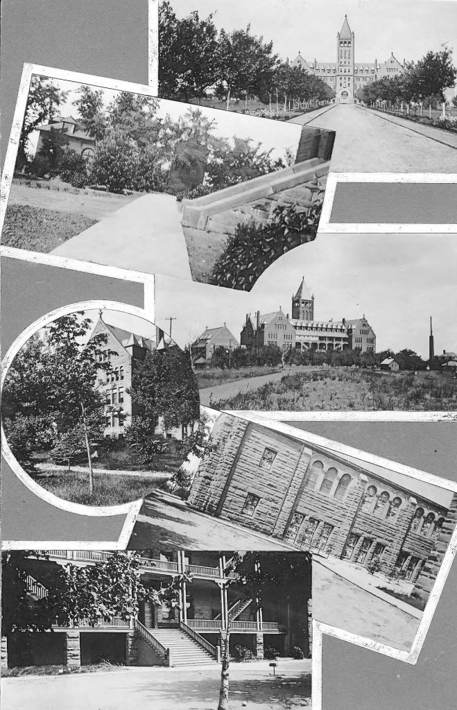 Collage of archival photos of the Loretto Heights College buildings and campus