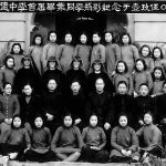 Archival class photo from China, with Sisters of Loretto, in habit, in the center.