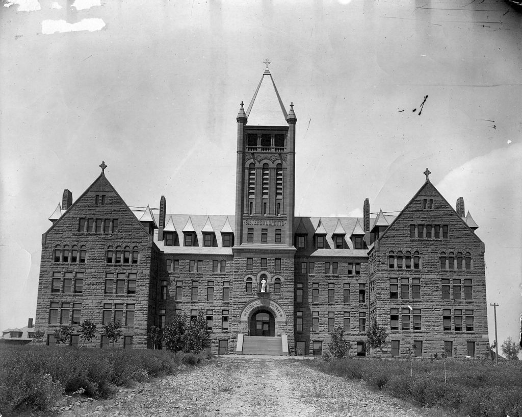 Archival photo of Loretto Heights College main building