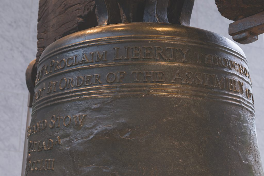 Close up view of the writing at the top of the Liberty Bell.