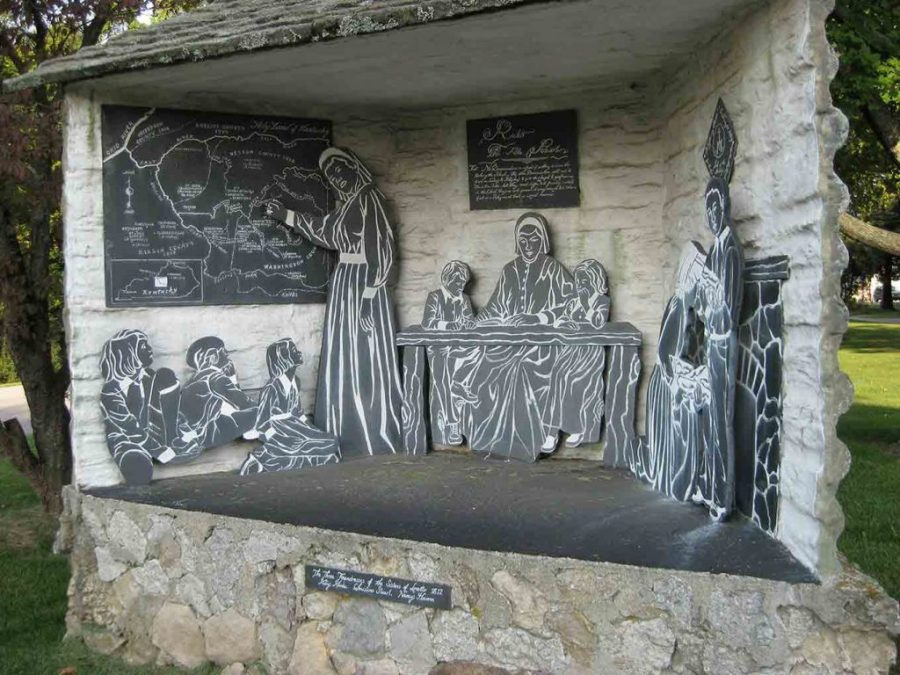 Diorama of early Loretto sisters teaching