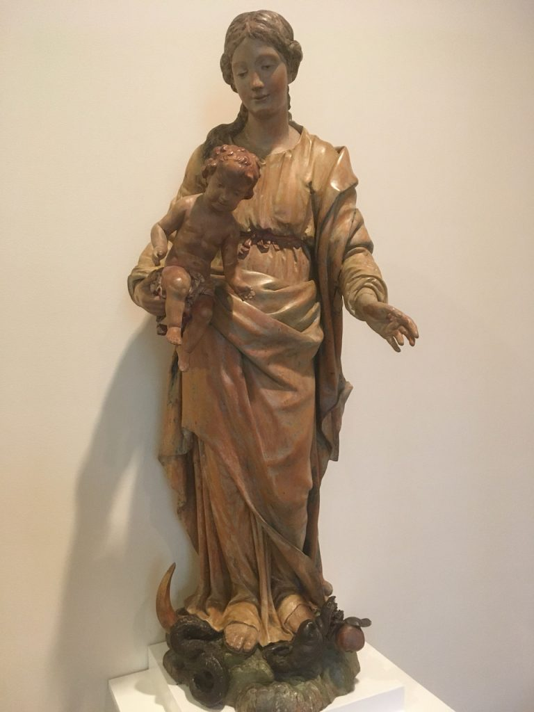 Statue of St. Mary holding Jesus as a small child