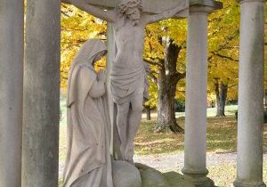 Photo of a Station of the Cross along the Way of the Cross in Loretto Cemetery on the grounds of Loretto Motherhouse, Nerinx, Ky.