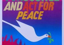 """Colorful banner of a peace dove over flames with text """"We work for justice and act for peace"""", """"The Loretto Community"""""""