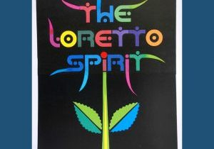 """Colorful banner with text """"The Loretto Spirit"""" as a bloom on a stem."""