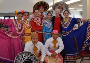 Mexican dancers with Pearl at going away party FL by A Zapata
