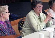 A photo of Loretto members Pat McCormick, Cathy Mueller and Lisa Reynolds speaking to St. Mary's Academy students